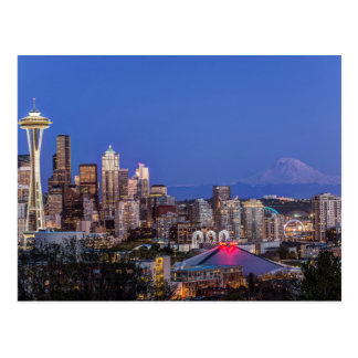 Seattle, Downtown and Mt. Rainier at Twilight Postcard