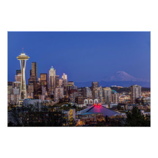 Seattle, Downtown and Mt. Rainier at Twilight Poster