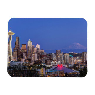Seattle, Downtown and Mt. Rainier at Twilight Rectangular Photo Magnet
