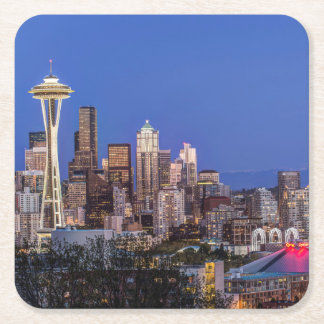 Seattle, Downtown and Mt. Rainier at Twilight Square Paper Coaster