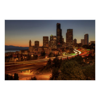 Seattle Downtown Skyline and Light Trails Posters