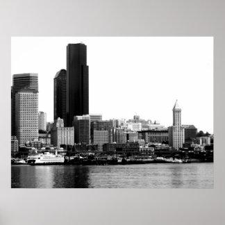Seattle en B&W Póster
