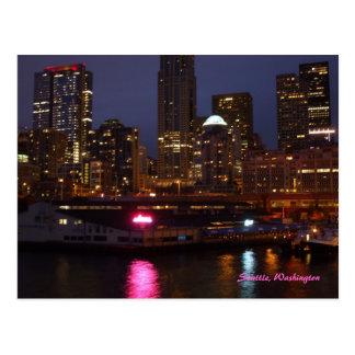 Seattle en la noche tarjeta postal