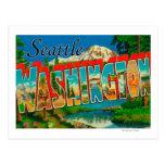 Seattle, escenas de la letra de WashingtonLarge Tarjeta Postal