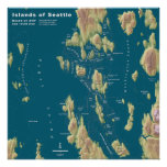 Seattle--Extreme Sea Rise Map (square version) Poster