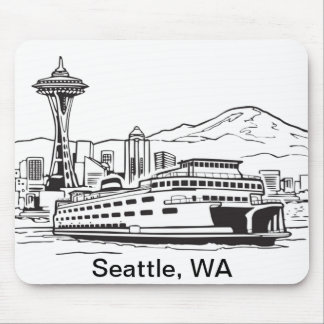 Seattle Ferry Washington State Line Art Mouse Pad