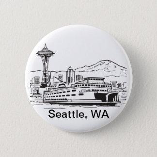 Seattle Ferry Washington State Line Art Pinback Button
