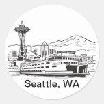 Seattle Ferry Washington State Line Art Round Stickers
