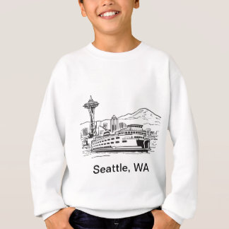 Seattle Ferry Washington State Line Art Sweatshirt
