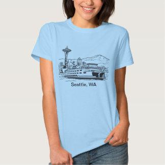 Seattle Ferry Washington State Line Art T Shirt