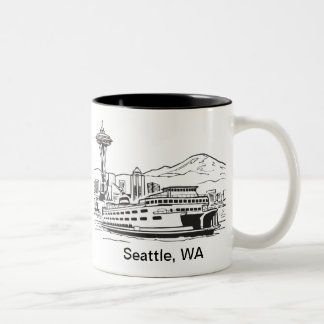 Seattle Ferry Washington State Line Art Two-Tone Coffee Mug