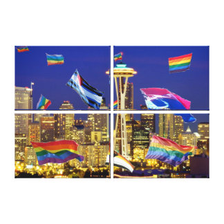 Seattle Flying Pride Flags Quad on Canvas Stretched Canvas Prints
