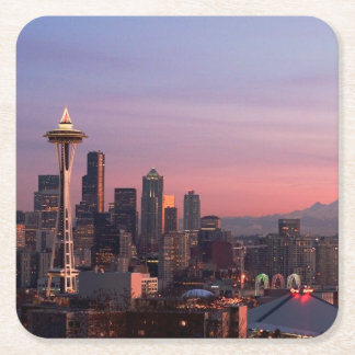 Seattle from Kerry Park. Square Paper Coaster