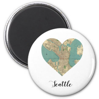 Seattle Heart Map 2 Inch Round Magnet