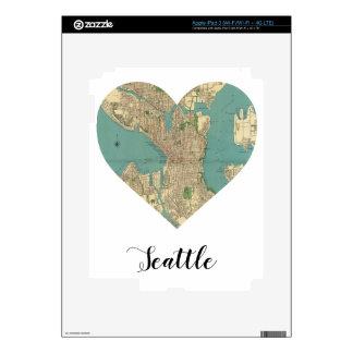 Seattle Heart Map iPad 3 Decal