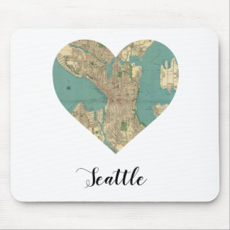 Seattle Heart Map Mouse Pad