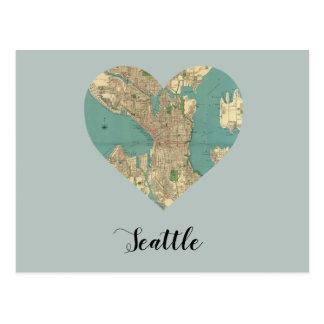 Seattle Heart Map Postcard