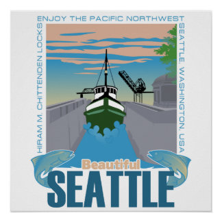 Seattle hermosa póster