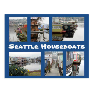 Seattle Houseboats Collage Postcard