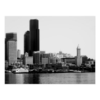 Seattle in B&W Poster