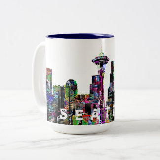 Seattle in graffiti Two-Tone coffee mug