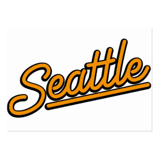 Seattle in orange business card template