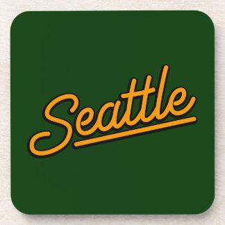Seattle in orange drink coaster