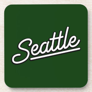 Seattle in white beverage coasters