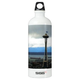 Seattle Landmark with Football Team Spirit Aluminum Water Bottle