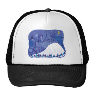 Seattle Landscape with Mount Rainier Trucker Hat