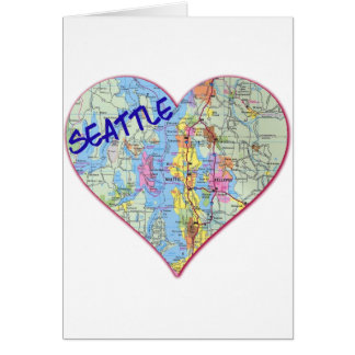 Seattle Map Heart Greeting Card