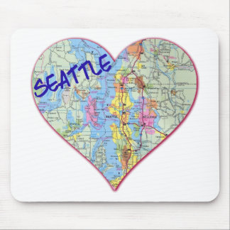 Seattle Map Heart Mouse Pad