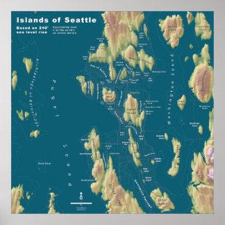 Seattle--Mapa extremo de la subida del mar Impresiones