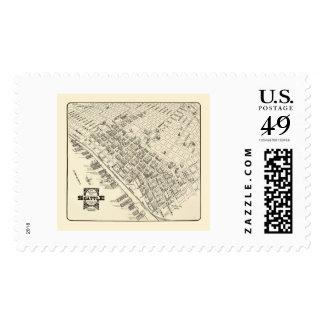 Seattle, mapa panorámico de WA - 1903 Timbre Postal