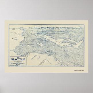 Seattle, mapa panorámico de WA - 1925 Posters