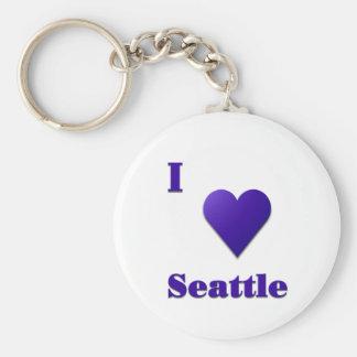 Seattle -- Midnight Blue Basic Round Button Keychain