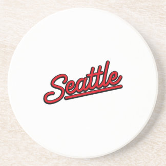 Seattle neon in red drink coaster
