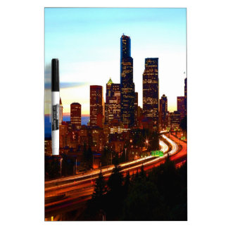seattle night  and peace dry erase board
