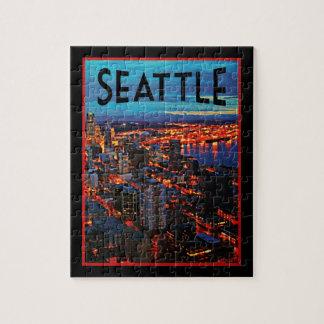Seattle Night Skyline Jigsaw Puzzle