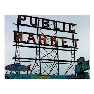 Seattle Open Fish Market Postcard