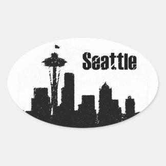 Seattle Pegatina Ovalada