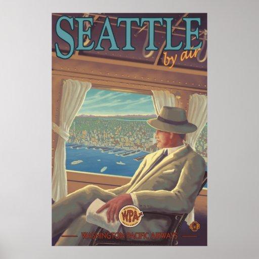 Seattle por el aire - poster del viaje de Washingt