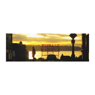 Seattle Public Market Sunset Photograph Canvas Print