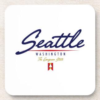Seattle Script Beverage Coaster