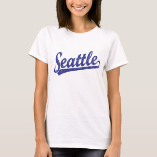 Seattle script logo in blue T-Shirt