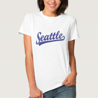 Seattle script logo in blue tshirt
