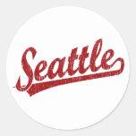 Seattle script logo in red classic round sticker