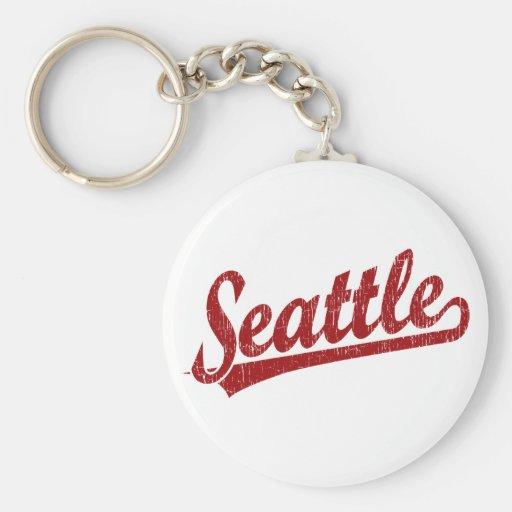 Seattle script logo in red key chains