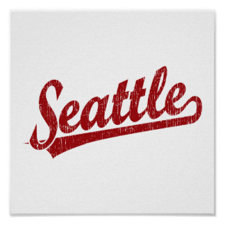 Seattle script logo in red poster