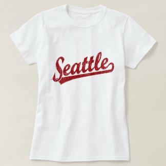 Seattle script logo in red shirt